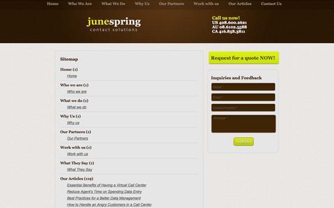 Screenshot of Site Map Page junespringcontactsolutions.com captured Sept. 30, 2014