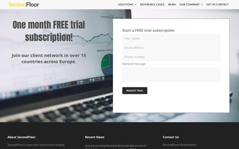 Screenshot of Trial Page secondfloor.com - Free trial   SecondFloor - captured July 18, 2018
