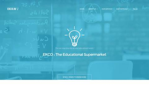 Screenshot of Home Page ekco.in - Ekco India - Education Supermarket | Education Management Solutions | Education Infrastructure India | Education Procurement - captured Jan. 23, 2016