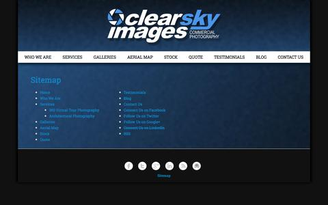 Screenshot of Site Map Page clearskyimages.com - Sitemap | Clear Sky Images - captured July 13, 2016