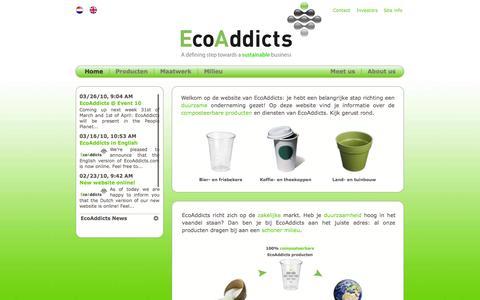 Screenshot of Home Page ecoaddicts.com captured Sept. 29, 2014
