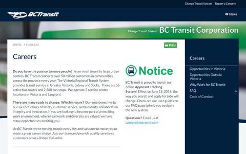 Screenshot of Jobs Page bctransit.com - BC Transit - Careers | BC Transit - captured Dec. 1, 2016