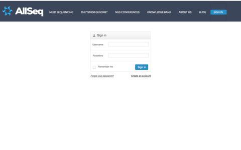 Screenshot of Login Page allseq.com - Marketplace - AllSeq - captured Sept. 30, 2014