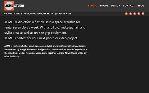 Screenshot of About Page Maps & Directions Page acmebrooklyn.com - ACME Studio | Studio | 63 North 3rd Street, Brooklyn, NY 11249 | (347) 529-6158 - captured Oct. 4, 2014