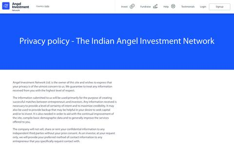 Screenshot of Privacy Page investmentnetwork.in - Privacy Policy on The Indian Investment Network - captured July 2, 2017