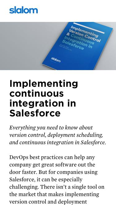 Implementing continuous integration in Salesforce
