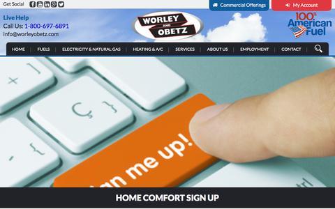 Screenshot of Signup Page worleyobetz.com - Home Comfort Sign Up | Worley & Obetz - captured Oct. 27, 2017