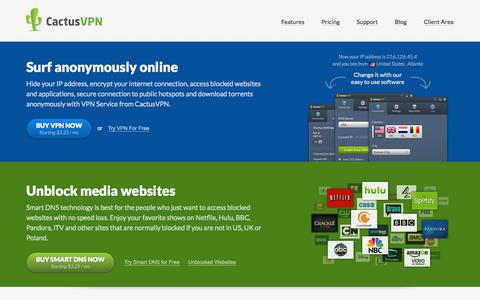 Screenshot of Home Page cactusvpn.com - Hide your IP address, encrypt your internet connection, access blocked websites and applications, secure connection to public hotspots and download torrents anonymously with VPN Service from CactusVPN - captured Sept. 23, 2014