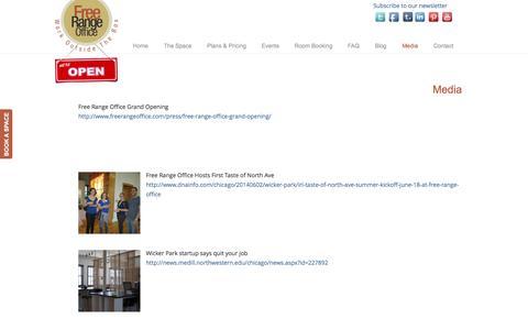 Screenshot of Press Page freerangeoffice.com - Media - Free Range Office Free Range Office - captured Sept. 30, 2014
