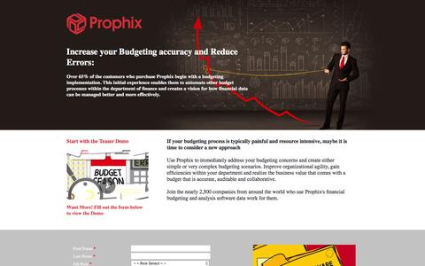 Screenshot of Landing Page prophix.com - Increase your Budgeting accuracy and Reduce Errors - captured March 15, 2016
