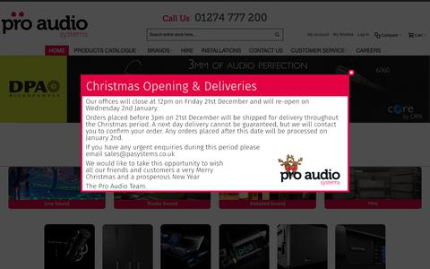 Screenshot of Home Page proaudiosystems.co.uk - Welcome - Pro Audio Systems    Pro Audio Systems - captured Dec. 14, 2018