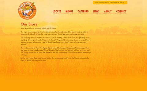Screenshot of About Page flyingbiscuit.com - Flying Biscuit Story - - captured Oct. 26, 2014