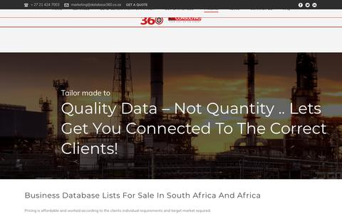 Screenshot of Pricing Page database360.co.za - CISO, CIO and IT manager Business Data lists for South Africa - captured July 14, 2018