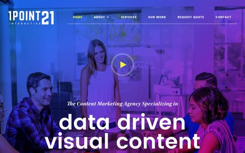 Screenshot of Home Page 1point21interactive.com - Data Visualization & Content Marketing Agency - captured July 8, 2018