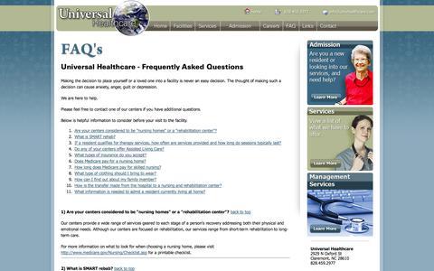 Screenshot of FAQ Page univhealthcare.com - Universal Healthcare - captured Oct. 2, 2014