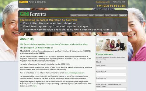 Screenshot of About Page gm-parent-visas.com - About Us - GM Parents -  Parent Visas in Australia | GM Parent Visas - captured Sept. 26, 2018