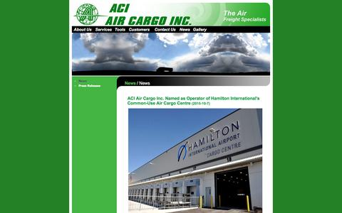 Screenshot of Press Page aircargoinc.ca - Air Cargo Inc. - Handling with care - captured Nov. 19, 2016