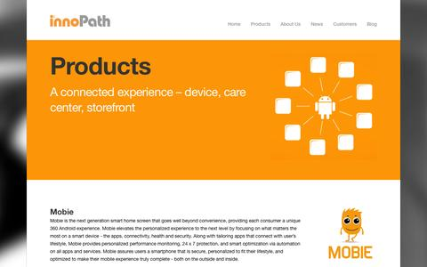 Screenshot of Products Page innopath.com - innoPath - the solution: mobileMD - captured Sept. 16, 2014