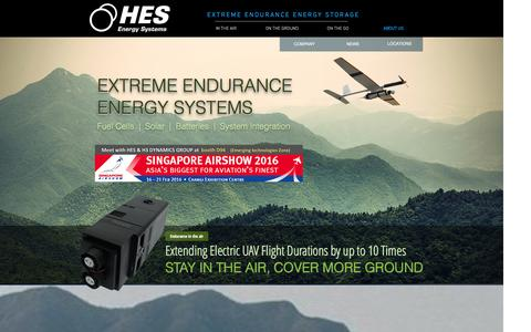 Screenshot of Home Page hes.sg - ABOUT US | HORIZON ENERGY SYSTEMS - captured Jan. 31, 2016
