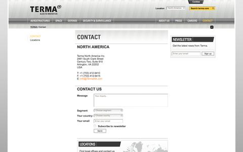Screenshot of Contact Page terma.com - Contact - captured Sept. 12, 2016