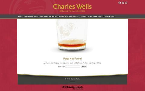 Screenshot of FAQ Page charleswellsltd.co.uk - Page Not Found - Charles Wells - captured Sept. 23, 2016