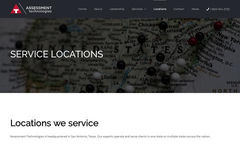 Screenshot of Locations Page atechltd.com - Assessment Technologies Locations - The Areas We Service - captured Oct. 4, 2018