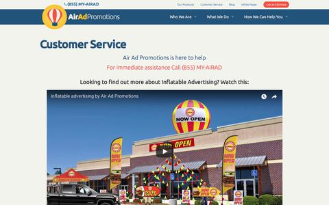 Screenshot of Support Page airadpromotions.com - Customer Service   Air Ad Promotions - captured July 29, 2018