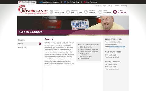 Screenshot of Jobs Page traylorgroup.com - Careers - captured Dec. 1, 2016