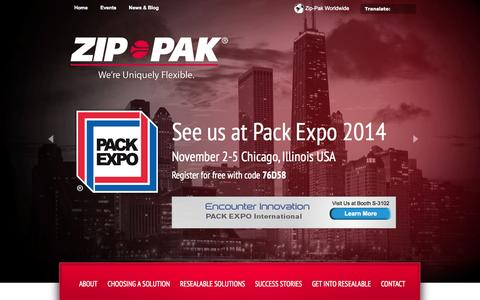 Screenshot of Home Page zippak.com - Resealable Packaging Technology | Zip-Pak: We're Uniquely Flexible - captured Oct. 1, 2014