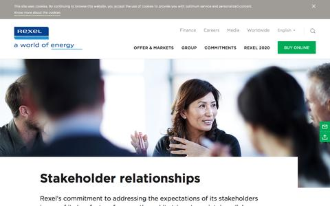 Screenshot of rexel.com - Stakeholder relationships | Rexel - captured March 29, 2016
