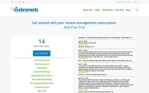 Screenshot of Trial Page eendorsements.com - Review Management Subscription - eEndorsements - captured July 18, 2016
