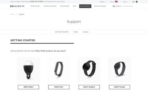 Screenshot of Support Page misfit.com - Support - Misfit - captured Nov. 22, 2016