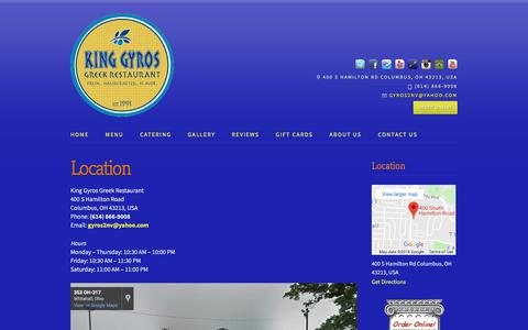 Screenshot of Maps & Directions Page kinggyros.com - Directions to King Gyros Greek Restaurant - captured July 2, 2018