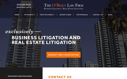 Screenshot of Contact Page theobrienlawfirm.com - Contact Us | The O'Brien Law Firm | - captured Jan. 26, 2016