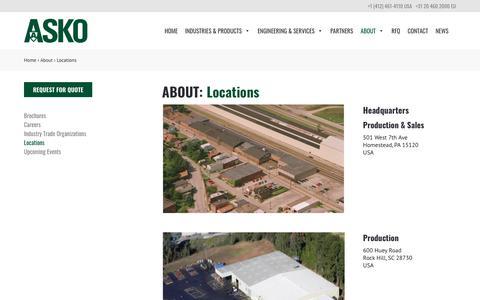 Screenshot of Locations Page askoinc.com - Locations – ASKO, Inc. - captured Oct. 2, 2018