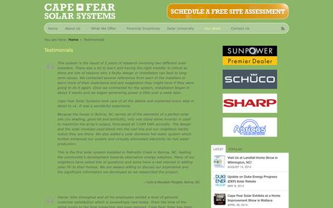 Screenshot of Testimonials Page capefearsolarsystems.com - Testimonials  |  Cape Fear Solar Systems, LLC - captured Oct. 1, 2014