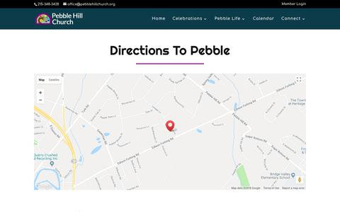 Screenshot of Maps & Directions Page pebblehillchurch.org - Directions | Pebble Hill Church - captured July 2, 2018