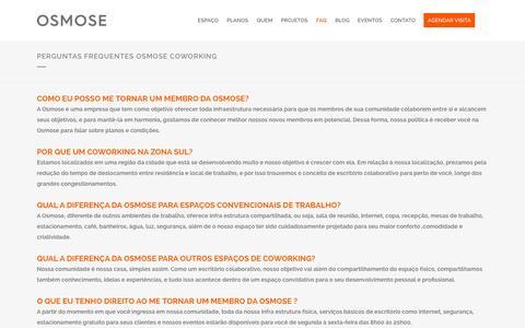 Screenshot of FAQ Page osmosecw.com.br - Perguntas Frequentes Osmose Coworking | OsmoseCW - captured Oct. 6, 2014