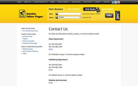 Screenshot of Contact Page jamaicayp.com - Jamaica Yellow Pages  |  Contact Us - captured Oct. 31, 2014