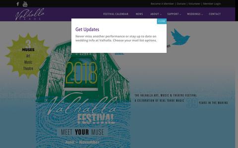 Screenshot of Home Page valhallatahoe.com - Valhalla Tahoe - Lake Tahoe Art, Music and Theatre - captured Oct. 18, 2018