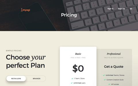 Screenshot of Pricing Page myagi.com - Pricing | Myagi - captured Nov. 11, 2017