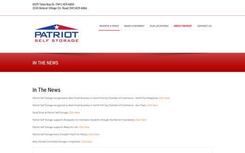 Screenshot of Press Page patriotstorage.com - In The News - Patriot Self Storage - captured Jan. 26, 2016