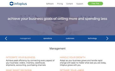 Screenshot of Team Page infopluscommerce.com - Management Benefits - captured June 7, 2017