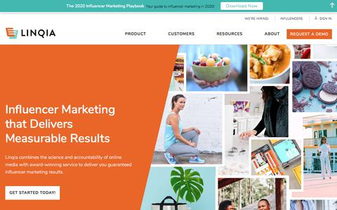 Screenshot of Home Page linqia.com - Performance-based Influencer Marketing |Linqia - captured Feb. 8, 2020