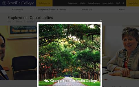 Screenshot of Jobs Page ancilla.edu - Employment Opportunities - Ancilla College - captured Feb. 6, 2016