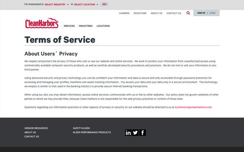 Screenshot of Terms Page cleanharbors.com - Terms of Service | cleanharbors.com - captured May 9, 2017