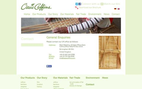 Screenshot of Contact Page oasiscoffins.com - Contact - Oasis Coffins - captured Oct. 27, 2014
