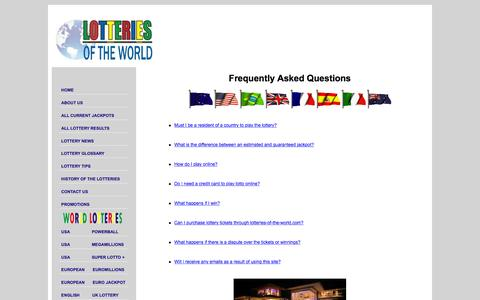 Screenshot of FAQ Page lotteries-of-the-world.com - LOTTERY, LOTTO, LOTTERIES Frequently Asked Questions and Answers - captured Dec. 12, 2015