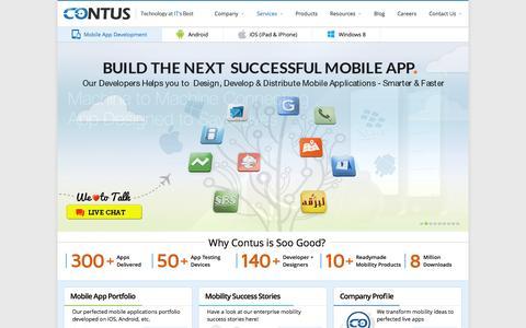 Screenshot of Services Page contus.com - Mobile Application Development Company | Hire App Developer - captured Sept. 23, 2014