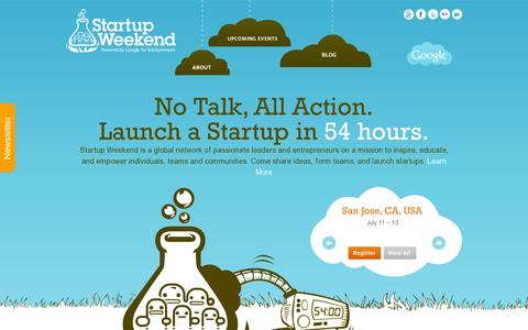 Screenshot of Home Page startupweekend.org - Startup Weekend - captured July 11, 2014